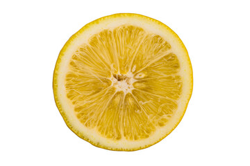Fototapete - Top view cross section of ripe lemon on white background with clipping path.