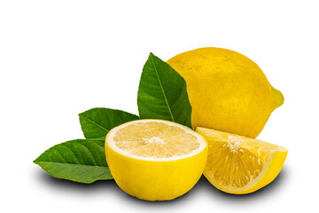 Fototapete - Freshly harvested lemon whole half and section with leaves isolated on white background with clipping path.