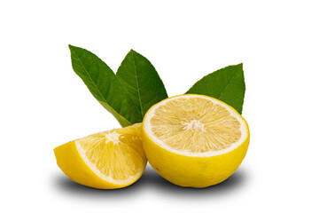 Fototapete - Pieces of lemon with leaves isolated on white background with clipping path.