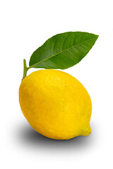 Fototapete - Ripe lemon with leaf isolated on white background with clipping path.