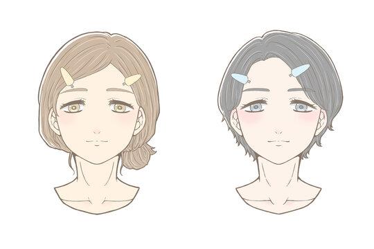 パーソナルカラー 前髪をあげたイエベブルベの女性 正面