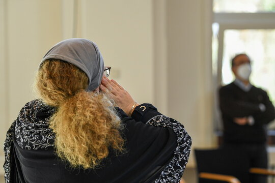 Female muezzin Susanne gives the call to prayer in Berlins Ibn-Rushd-Goethe mosque