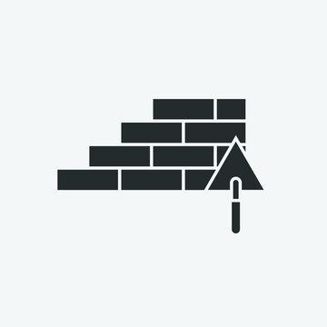 building vector icon trowel and bricks