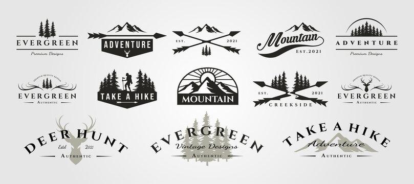 set of vector adventure mountain outdoor vintage logo symbol illustration design, vintage bundle logo design