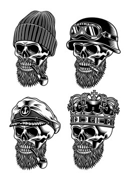 Bearded Skull Characters Collection Vector Illustration