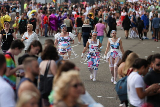 People prepare to celebrate the Gay and Lesbian Mardi Gras Parade in Sydney