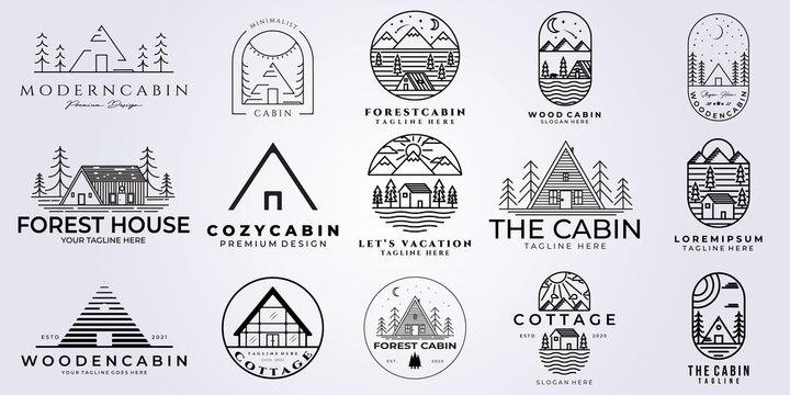 set bundle cabin logo vector illustration design, line art style