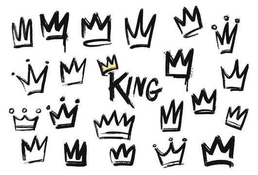 Set of crown icon in brush stroke texture paint style. hand drawn illustration.