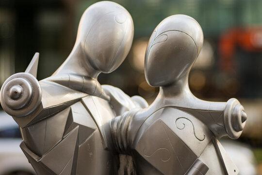 Midosuji Sculpture Street in central Osaka, Japan, Artistic public sculpture on the Midosuji avenue on December 7, 2017