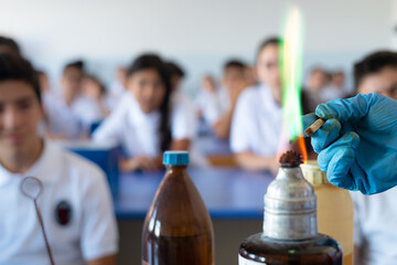 Experiment in chemistry class