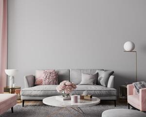 Elegant modern living room design, wall mockup in pink and gray home decor, 3d render - fototapety na wymiar