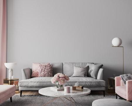 Elegant modern living room design, wall mockup in pink and gray home decor, 3d render