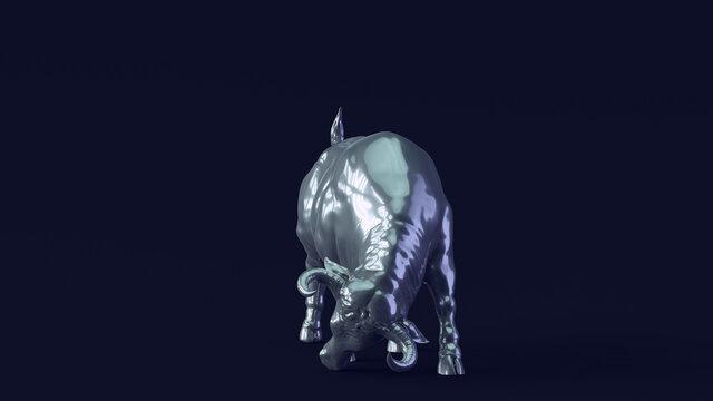 Bull with Green White Moody 80s lighting 3d illustration render