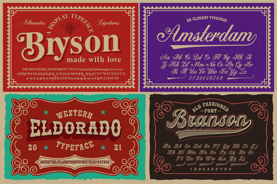 A set of different fonts in retro style, these fonts are perfect for alcohol labels, vintage packages, posters, and many other creative products