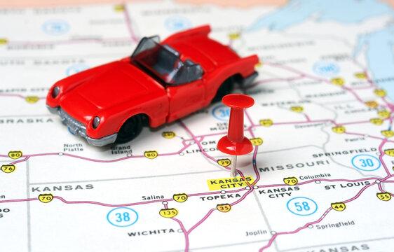 Kansan City USA  map cabrio