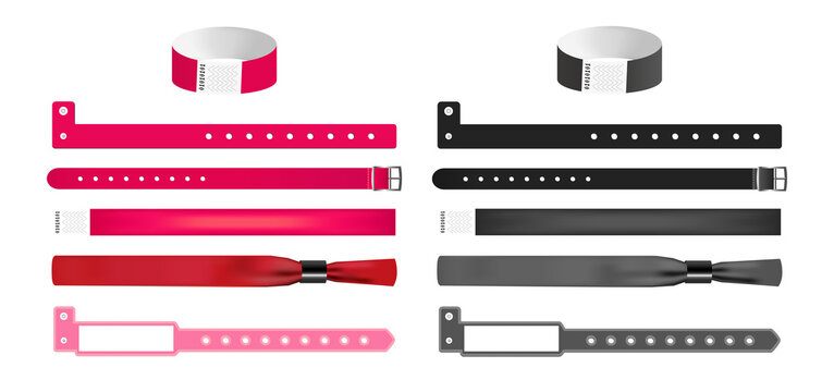 Vector set of different bracelets or wristbands in red and black isolated. Bracelets with safety lock, closing watch mechanism, L shape, sticky hand entrance event paper, fabric polyester bracelets.