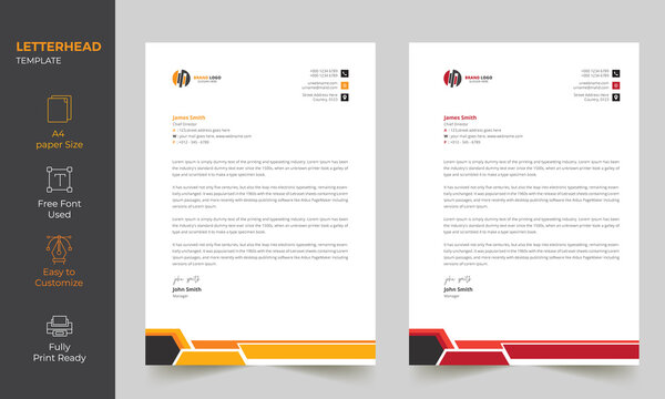 Professional Clean Letterhead Design Template, Fully editable  A4 Size  print Ready Template 2 color variations