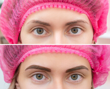 Close up photo comparison before and after permanent make up. Tattooing of eyebrows for woman in beauty salon