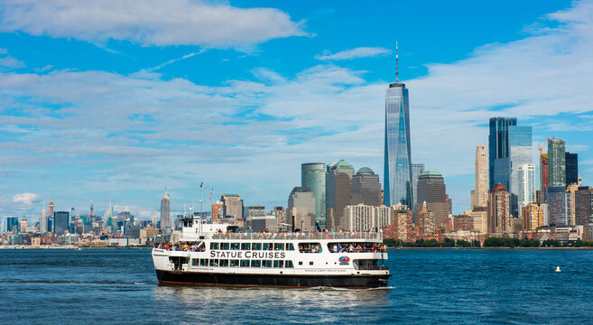 NEW YORK, USA - September 27, 2018: Statue Cruises ferry in Manhattan. Statue Cruises is tours of the Statue of Liberty National Monument and Ellis Island. New York. USA. .
