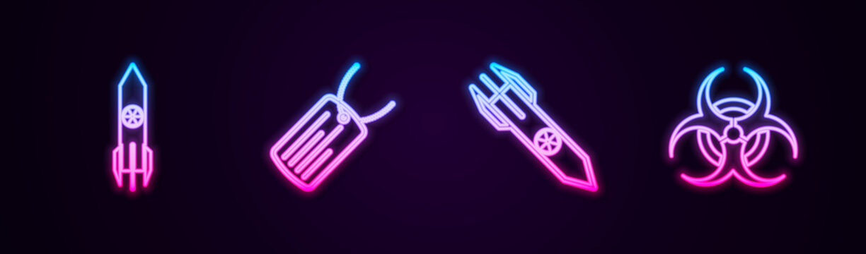 Set line Nuclear rocket, Military dog tag, and Biohazard symbol. Glowing neon icon. Vector.