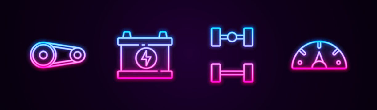 Set line Timing belt kit, Car battery, Chassis car and Speedometer. Glowing neon icon. Vector.
