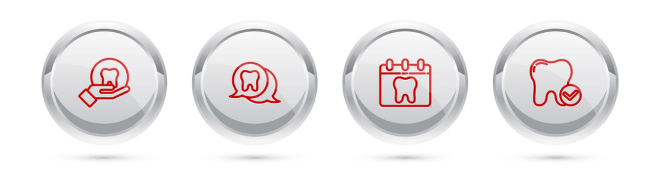 Set line Tooth, , Calendar with tooth and whitening concept. Silver circle button. Vector.