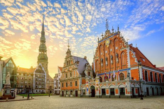 Riga city Old town center on sunrise, Latvia