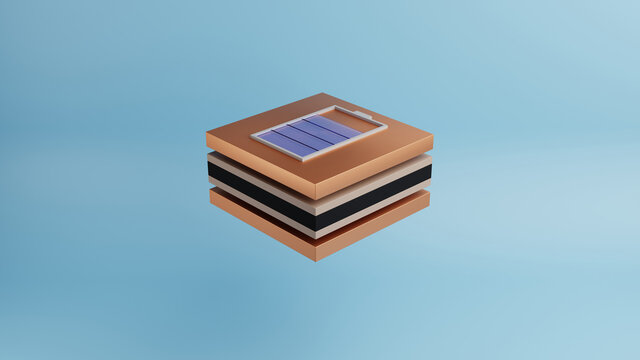 Framgent layers of solid state battery. The concept of research and development of new batteries for energy storage.