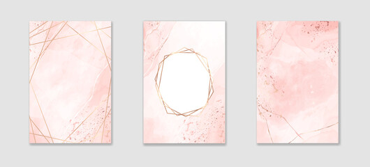 Fototapeta Collection of abstract dusty pink liquid watercolor background with golden lines and frame. Pastel marble alcohol ink drawing effect. Vector illustration design template for wedding invitation obraz