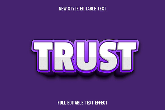 editable text effect trust color white and purple