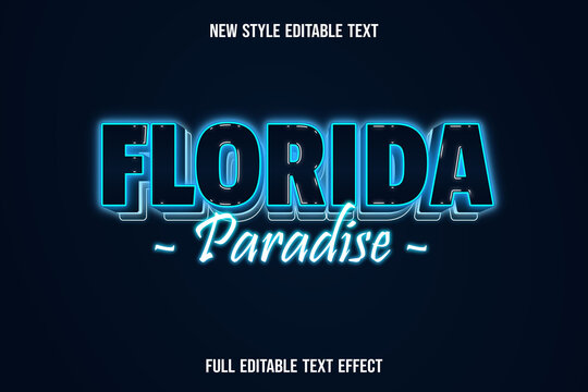 editable text effect florida paradise color blue and white