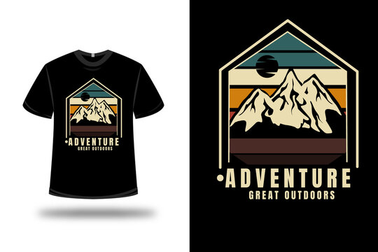 t-shirt adventure great outdoors color green yellow and brown