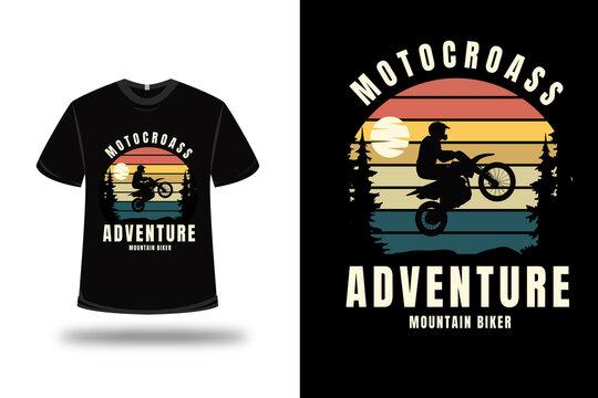 t-shirt motocross adventure mountain biker color orange yellow and green