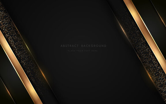 Abstract luxurt black geometric overlap layers with stripe golden line and glitter lighting on dark background. Premium and elegant background with copy space. Vector illustration