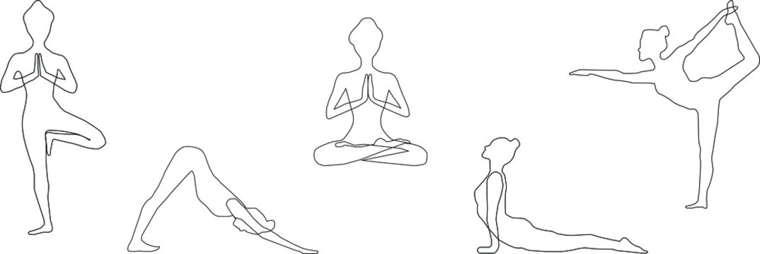 Set of slim sportive young woman doing yoga or fitness exercises. Healthy lifestyle. Various yoga positions isolated on white background - Vector