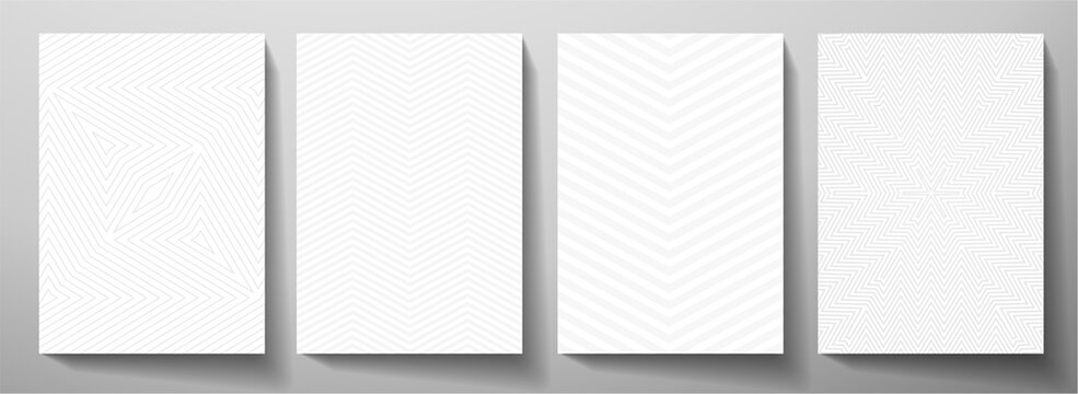 Modern blank background design set. Abstract creative line pattern (herringbone ornament) in monochrome light gray, white color. Graphic vector layout for notebook, business page template, presentatio