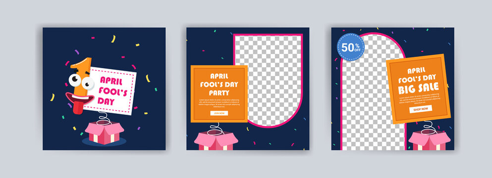 April fools day. April fools day party. April fool's day sale. Social media templates for april fools day.