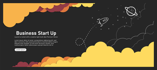 Vector illustration of a rocket, light bulb, cloud and icon Concept of business start with thin line style icons for website banners. Wall mural
