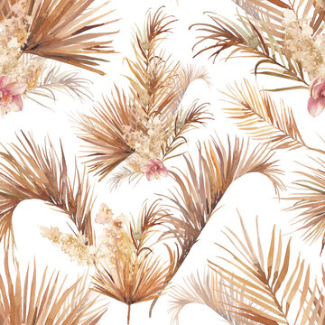 Palm tree leaves texture with orchid. Seamless pattern with floral watercolor illustrations. Exotic floral ornate on white background.