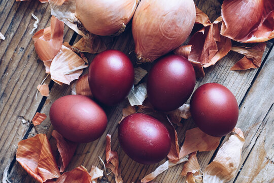 Dyed Easter eggs with onion