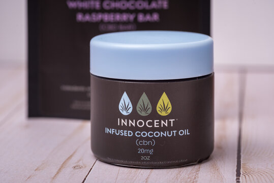 A jar of CBD infused coconut oil for topical treatments, made by In Grown Farms. Chicago, IL on March 6, 2021.
