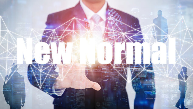 Double exposure of business with New normal includes business concept, Businessman touching new normal working, work from home, Communication marketing, COVID-19 virus caused the new normal worldwide.