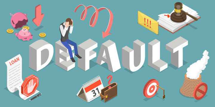 3D Isometric Flat Vector Conceptual Illustration of Default, Financial Problems, Business Crisis and Bankruptcy.