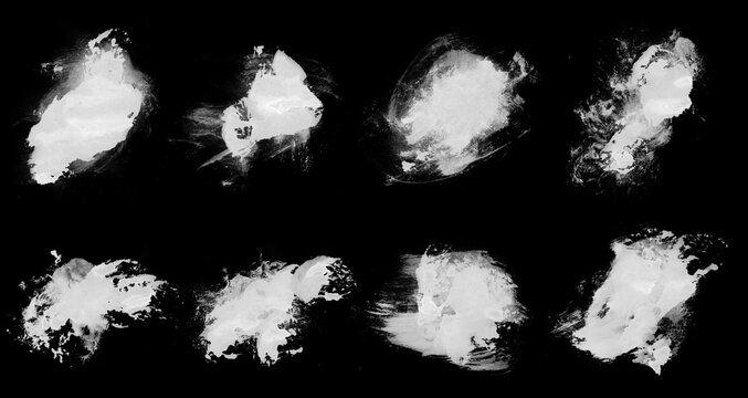 Set of white vector smear brushes for art design
