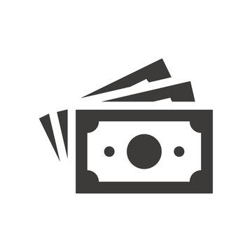 Money banknotes black vector icon. Cash, paper banknote symbol.