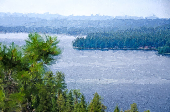 Impressionistic Style Artwork of a Mountain Lake Hidden Deep in the Pine Forest