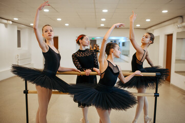 Teacher and young ballerinas, performance in class