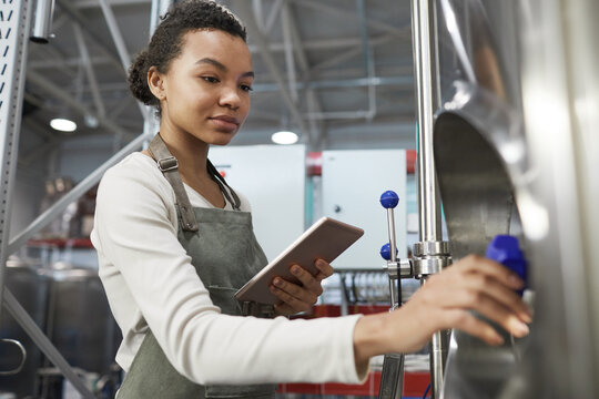 Portrait of young African-American woman operating brewing equipment at beer making factory and using digital tablet, copy space