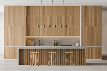 Wooden dining room, bar chairs and table