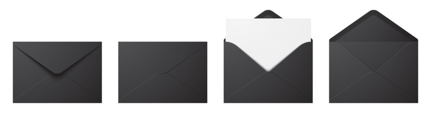 Vector set of realistic black envelopes in different positions. Folded and unfolded envelope mockup isolated on a white background.